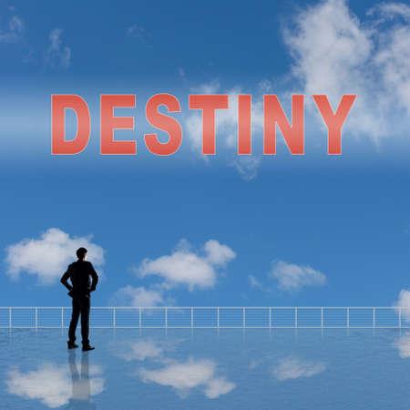 destiny: Destiny sign on the sky. Stock Photo