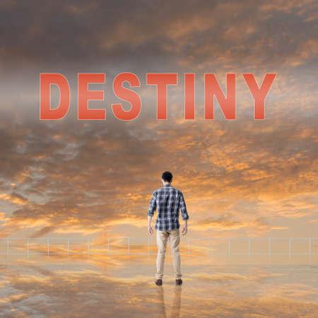 Destiny sign on the sky. Stock Photo
