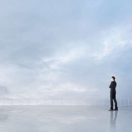 discover: Man look and discover against the cloudy sky with copyspace.