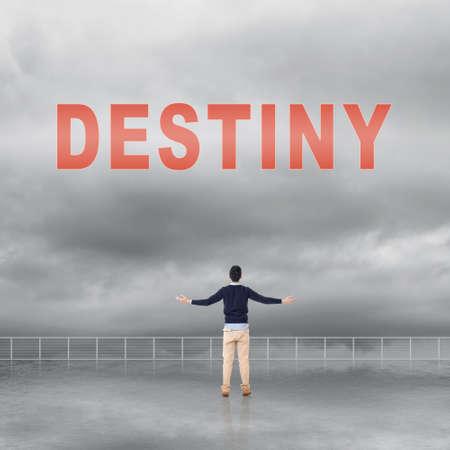 destin: signe Destiny sur le ciel.