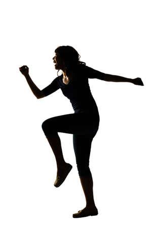 cuerpo femenino: Silueta de la mujer joven asiática pose, aislado retrato de cuerpo entero. Foto de archivo