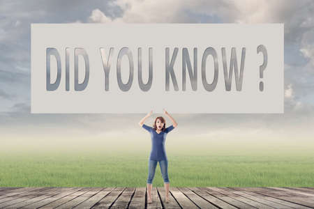 did you know: Did you know, words on blank board hold by a young girl in the outdoor.