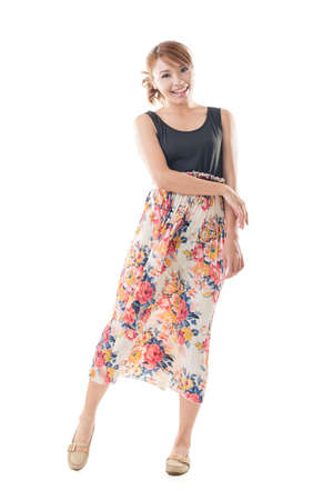maxi dress: Attractive Asian woman with maxi dresses, full length isolated.