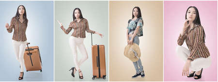 asian lady: Modern Asian woman stand with a luggage.