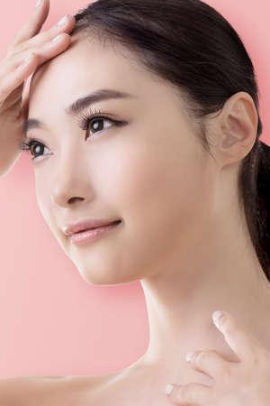 nude young: Азиатская красота лицо, крупным планом портрет с чистым и свежим элегантной леди. Фото со стока