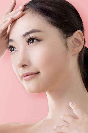 nude young girl: Asian beauty face, closeup portrait with clean and fresh elegant lady. Stock Photo