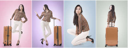 asian style: Modern Asian woman stand with a luggage in vintage style.