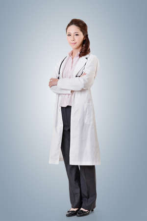 occupations: Friendly Asian doctor woman, full length portrait isolated.