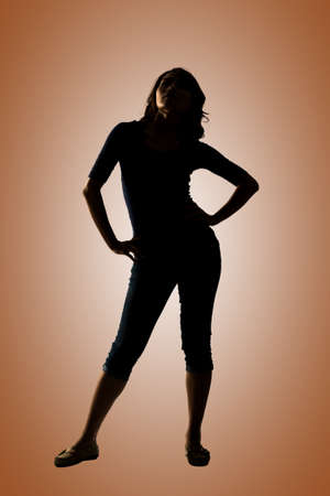 body silhouette: Silhouette of young Asian woman pose, full length portrait isolated.