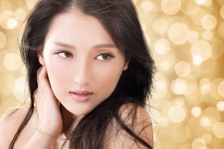 아시아 아름다움 얼굴, 깨끗하고 신선한 우아한 아가씨 근접 촬영 초상화. 스톡 콘텐츠