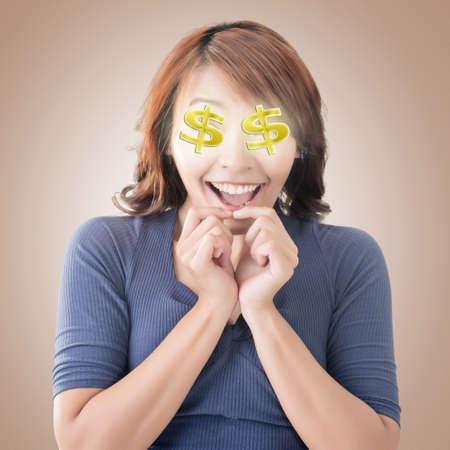 signos de pesos: Emoji expresión de la cara de una mujer asiática. Foto de archivo