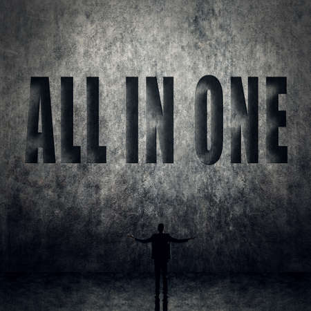 all in: Concept of all in one, a man with text.