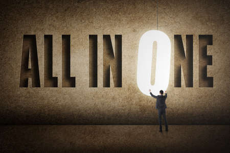 all in one: Concept of all in one, a man with text.