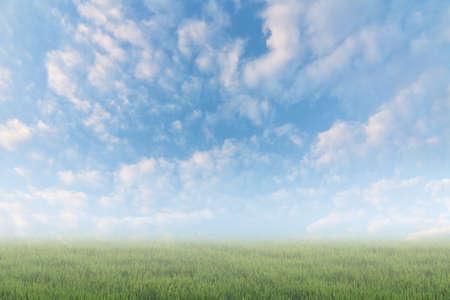 cielo: Escénica de nubes en el cielo por encima del suelo. Buen fondo para poner texto o la gente en el suelo.