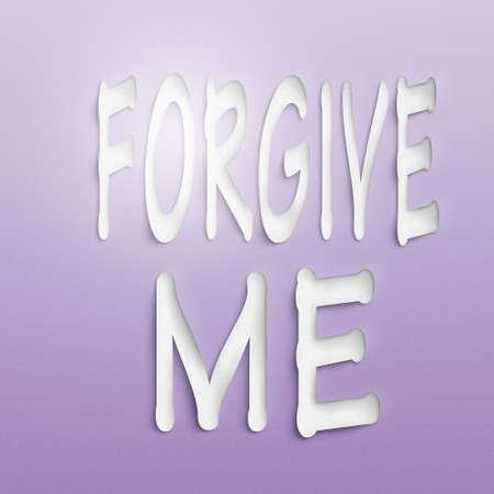 perdonar: texto en la pared o papel, perd�name