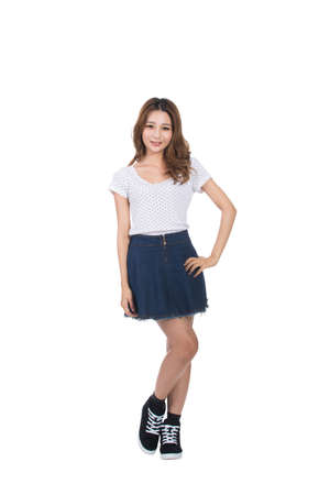 beauty full: Young Asian girl, full length portrait isolated. Stock Photo