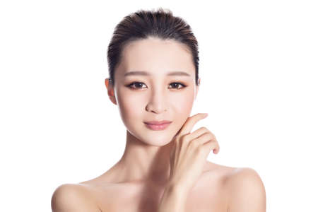 nude blond girl: Asian beauty face, closeup portrait with clean and fresh elegant lady. Stock Photo