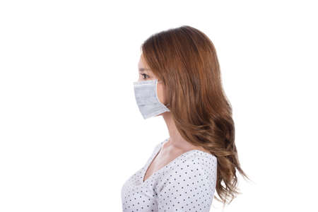 dust mask: Woman in mask, closeup portrait. Stock Photo