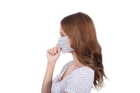 Woman in mask, closeup portrait. Stockfoto