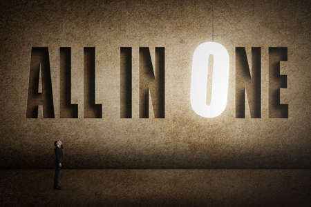 Concept of all in one, a man with text.