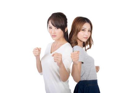 women sport: Asian woman fight together, closeup.