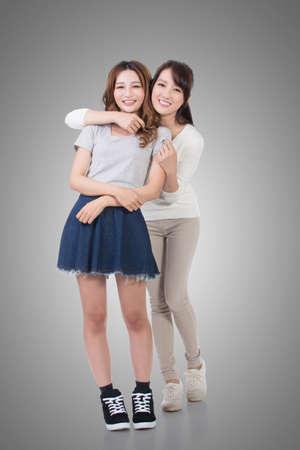 caras felices: Las mujeres asiáticas feliz sonrisa, aislados retrato de cuerpo entero. Foto de archivo