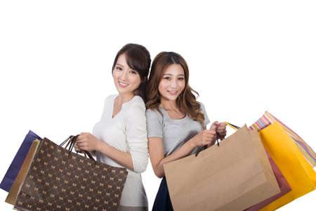 woman bag: Asian shopping woman with her friends holding bags.