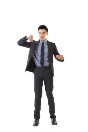 asian guy: Holding pose of Asian business man, full length isolated. Stock Photo
