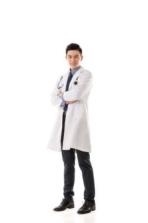 Asian doctor man, full length portrait isolated. Stock Photo