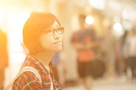 late 20s: Young girl of Asian at mall in Taipei, Taiwan. Stock Photo