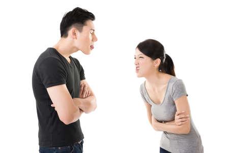 upset: Asian couple argue, closeup portrait with two people. Stock Photo