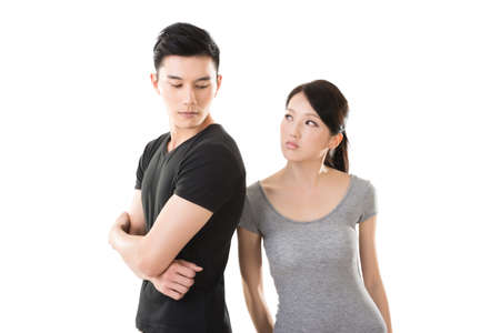 Asian couple argue, closeup portrait with two people. Stockfoto
