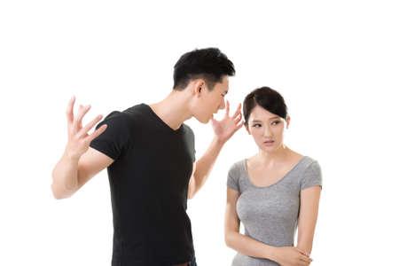 Asian couple argue, closeup portrait with two people. 免版税图像