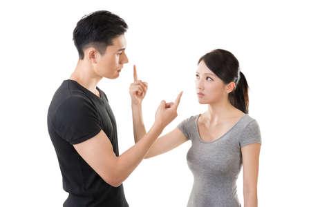 Asian couple argue, closeup portrait with two people. Фото со стока