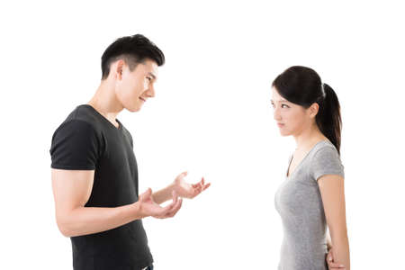 angry women: Asian couple argue, closeup portrait with two people. Stock Photo