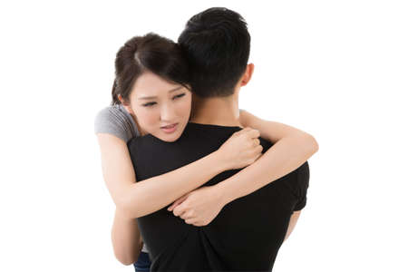 comfort: Asian young couple hug and comfort, closeup portrait