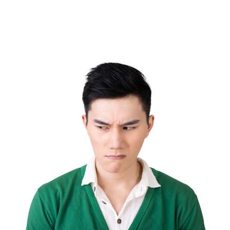 unhappy man: Funny facial expression, closeup Asian young man. Stock Photo