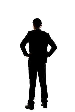 silueta hombre: Silueta de Asia hombre de negocios de pie, aislado retrato de cuerpo entero