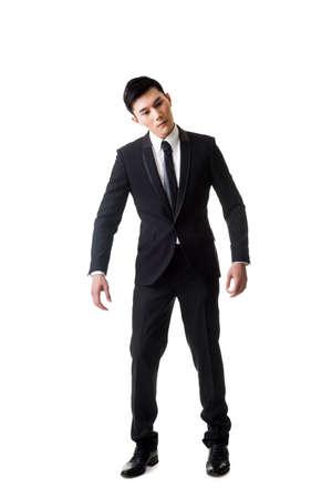 Manette pose, homme d'affaires asiatique isolé