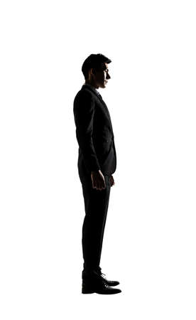 man profile: Confident businessman of Asian, silhouette portrait isolated