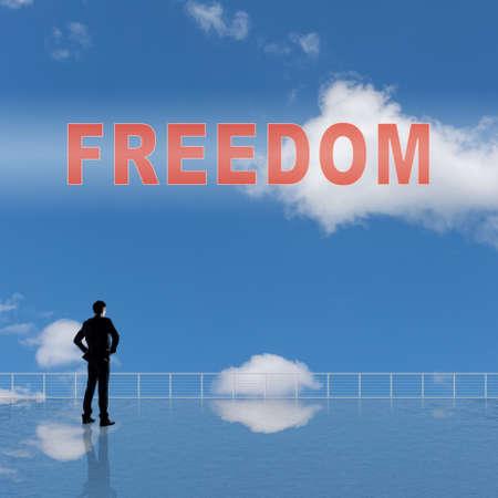 cielos abiertos: Libertad, mensaje o texto en el cielo.