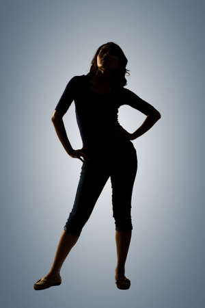 cheer full: Silhouette of young Asian woman pose, full length portrait isolated.