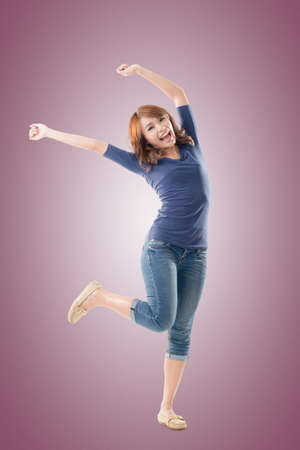 fresh girl: Excited Asian young girl, full length portrait isolated.