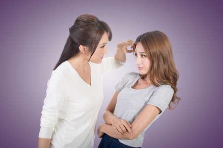 upset: Friend arguing, two asian women.