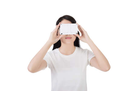 headset: Woman using the virtual reality headset