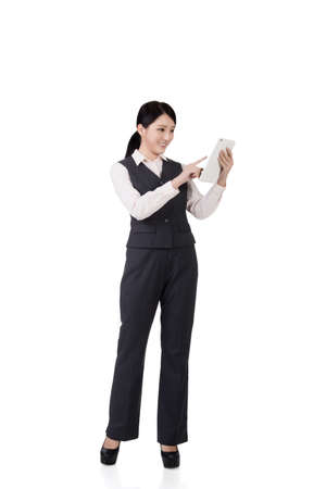 professional people: confident asian business woman, full length portrait