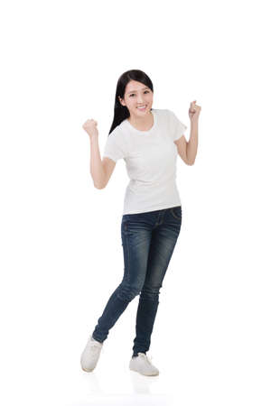 beautiful woman body: Cheerful Asian woman, full length portrait isolated
