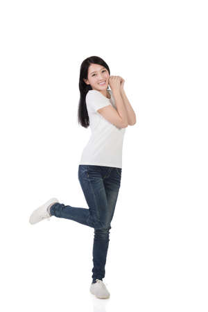 woman young: Cheerful Asian woman, full length portrait isolated