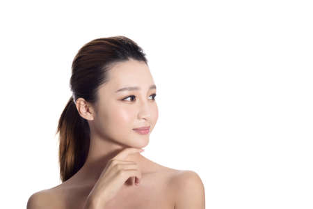 modelos desnudas: Asian beauty face, closeup portrait with clean and fresh elegant lady. Foto de archivo