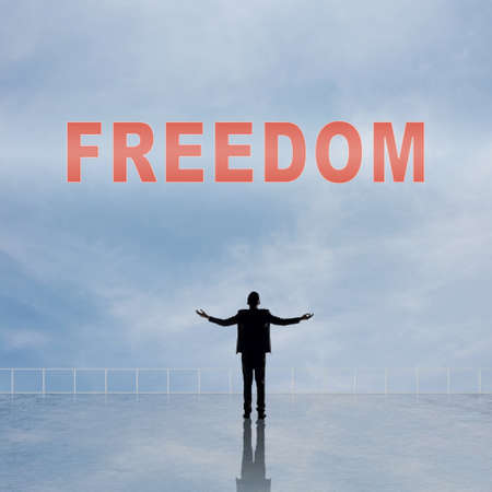 openness: Freedom, message or text on the sky. Stock Photo